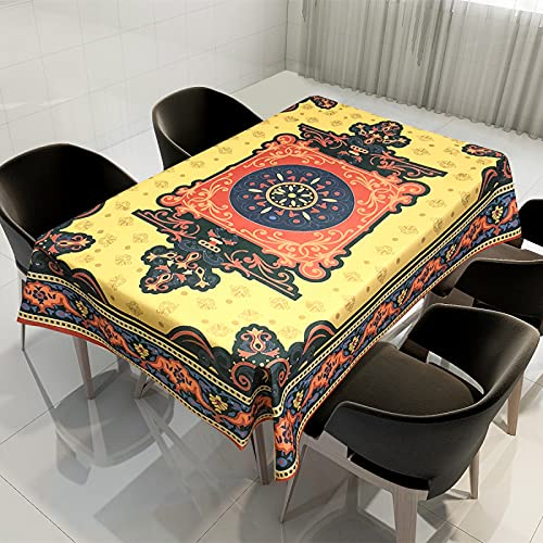 SUNFDD Tela Impermeable, Resistente A Las Manchas Y A Los Arañazos, Mandala Étnico, Impresión Digital, Mantel De...