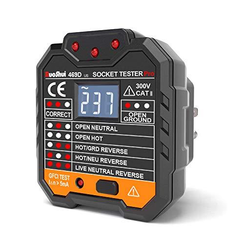 Ruoshui Socket Tester, Tester per Circuiti Elettrici, Advanced Tester de Presa, Display LCD a Cristalli Liquidi, Rileva 7 Condizioni di Cablaggio, 48-250 V, Cat II 300V, Test RCD - EUR Plug