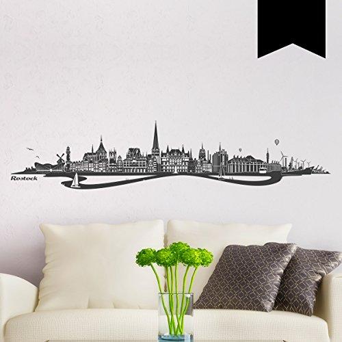 WANDKINGS Wandtattoo Skyline Rostock mit Fluss 100 x 19 cm - Schwarz - 35 Farben zur Wahl