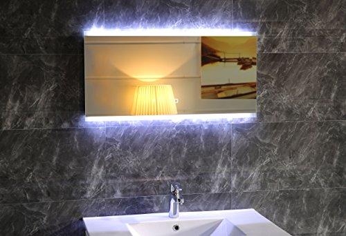 Design Éclairage LED miroir de salle de bain gs043 Miroir lumineux miroir mural avec interrupteur tactile lumière du jour blanc IP44, Verre, 120 x 60 cm
