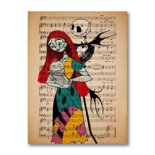 xmydeshoop Jack Skellington Sally & Baby Girl Vintage Poster Music Canvas Print Nightmare Before Christmas Nursery Wall Art Decor Wall Painting (V-458) 40x60CM No frame