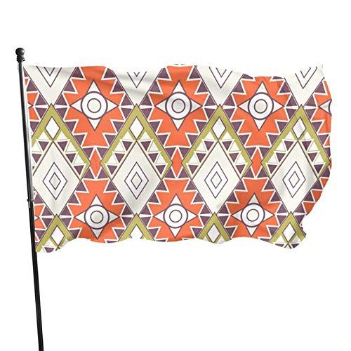GOSMAO Bandera de 3x5 Ft Bandera de jardín Azteca geométrica Bandera Decorativa para el hogar Bandera de Patrulla de disuasión