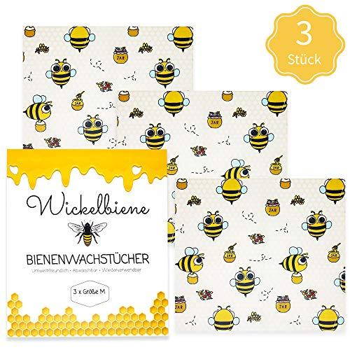 Wickelbiene Bienenwachstücher 3er Set Größe M Bienenwachs Wachs-Papier Bienenwachstuch Bee Biene aus Wachs Jojobaöl Baumwolle Alternative Zero Waste Wachstuch