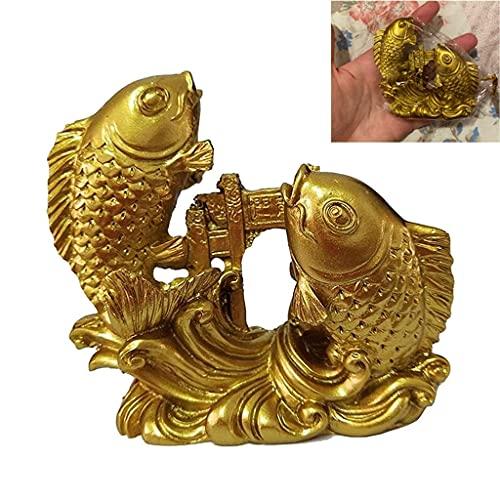 JYKFJ Złota chińska Feng Shui ryba statuetki ozdoby, karp żywiczny skaczący smok brama rzeźba rękodzieło, ręcznie rzeźbione zwierzęta dekoracje figurki