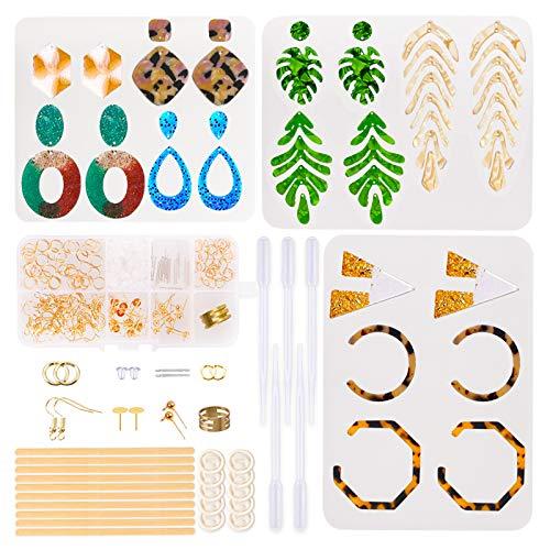 Moldes de resina para pendientes, moldes de silicona para resina que incluye 3 unidades de bohemia para pendientes de resina, ganchos para pendientes, anillos de salto, postes para joyas de resina.