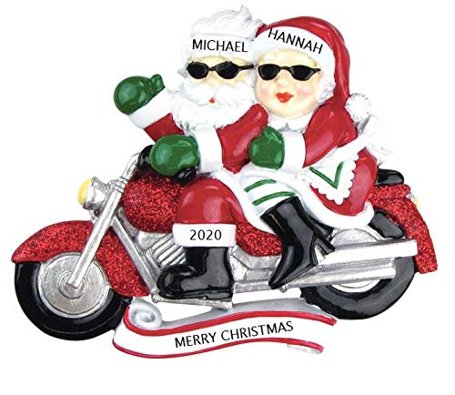 2020 Personalized Ornament Motorcycle Mr. & Mrs. Claus Couple Christmas Tree Ornament Handwritten Customized Decoration Wedding Ornament-Free Personalization