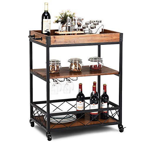 Giantex Kitchen Trolley Cart Island Rolling Serving Carts Utility Cart 3 Tier Storage Shelf with Glass Holder, Handle Racks, Lockable Caster Kitchen Carts Islands w/Removable Wood Box Container