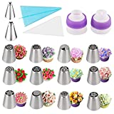 HoyMie 27pcs Russian Piping Nozzles Cake Decorating Tips Icing Nozzles Pastry Tip Stainless Steel Russian Piping Tools Cake Decorating Supplies Kits