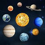 HUANGRONG Pegatinas de Pared 9pcs / Set 9 Sistema Solar Planet Pared palillo Fluorescente El Universo Planet Galaxy habitación Niños Luminoso Dormitorio Pared Pegatinas