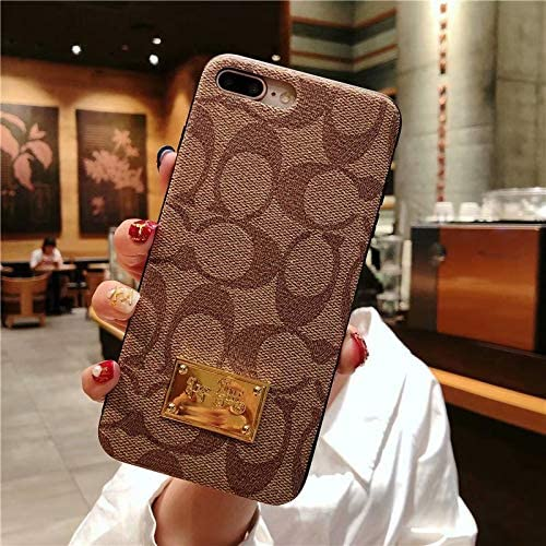 iPhone 7 Plus/8 Plus case,Classic Monogram Pattern iPhone case,Luxury Ultra-Thin Leather case with Metal nameplate for Apple iPhone 7 Plus/8 Plus 5.5