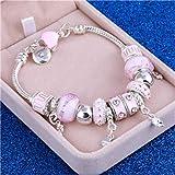 MUATE Pink Crystal Charm Pulseras y brazaletes de Plata para WWith Aliexpress Murano Beads Pulsera de Plata Femme joyería