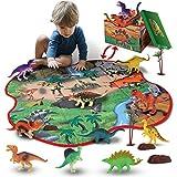 GILOBABY kid dinosaurier spielzeug mit 2 in 1 spielmatte & bäume & felsen, pädagogisches lernen dino modell spielzeug für kinder kleinkind junge mädchen spielzeug geschenk für 3 jahre alt