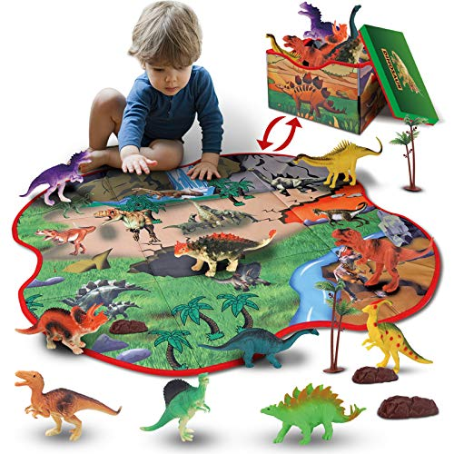 GILOBABY 2 in 1 Dinosaur Toy Storage Box & Activity Playmat with 10 Dinosaurs, 2 Trees and 2 Rocks, Educational Realistic Dinosaur Figure Toys, Pretend Play Gifts for Kids Boys Girls Age 3+
