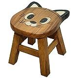 süße Kinderhocker aus Mangoholz Holz Kinder Sitzgruppe Schemel Hocker Jungs & Mädchen Motiv (Katze)