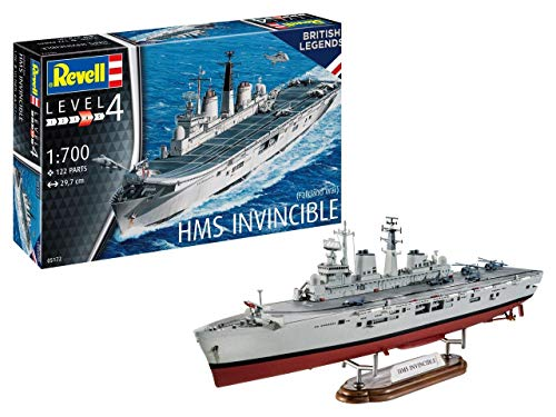 Revell RV05172 HMS Invincible (Falkland War), Schiffsmodellbausatz 1:700, 29,7cm originalgetreuer Modellbausatz für Fortgeschrittene, Unlackiert