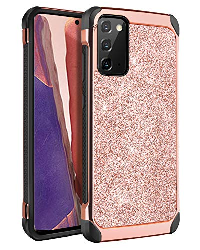 BENTOBEN - Custodia per Samsung Galaxy Note 20, per Samsung Galaxy Note 20, ultra sottile, ibrida in policarbonato rigido luccicante, in pelle lucida, per Samsung Galaxy Note 20, colore: Oro rosa