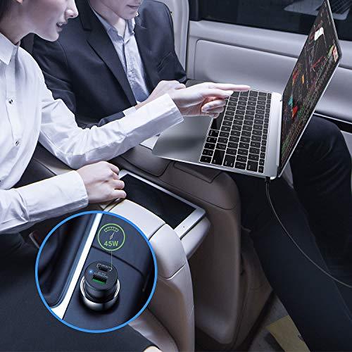 KiwiBird 63W USB C KFZ Auto Ladegerät, Typ C PD 3.0 45W, USB-A QC 3.0 18W Kompatibel mit MacBook Air iPad Pro 2018/2020, iPhone 11 Pro/11 Pro Max, Galaxy S10/Note 10, Pixel 3a/4, Dell HP Laptops