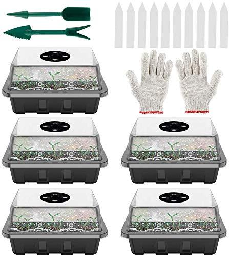 Bandejas de Semilleros Bandejas De Germinación para Invernaderos Caja De Plántulas De 12 Agujeros con Kit De Esparcidor Completo Cubierta Transpirable Ajustable para Uso en Tiendas Domésticas (5PCS)