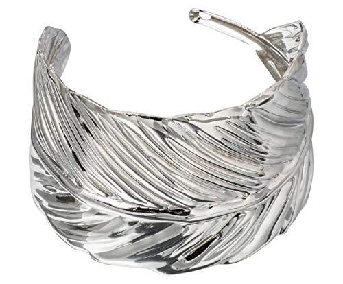 Gemshine Damenarmband mit Blattmotiv in Silber. Hochwertiger Naturschmuck Armspange