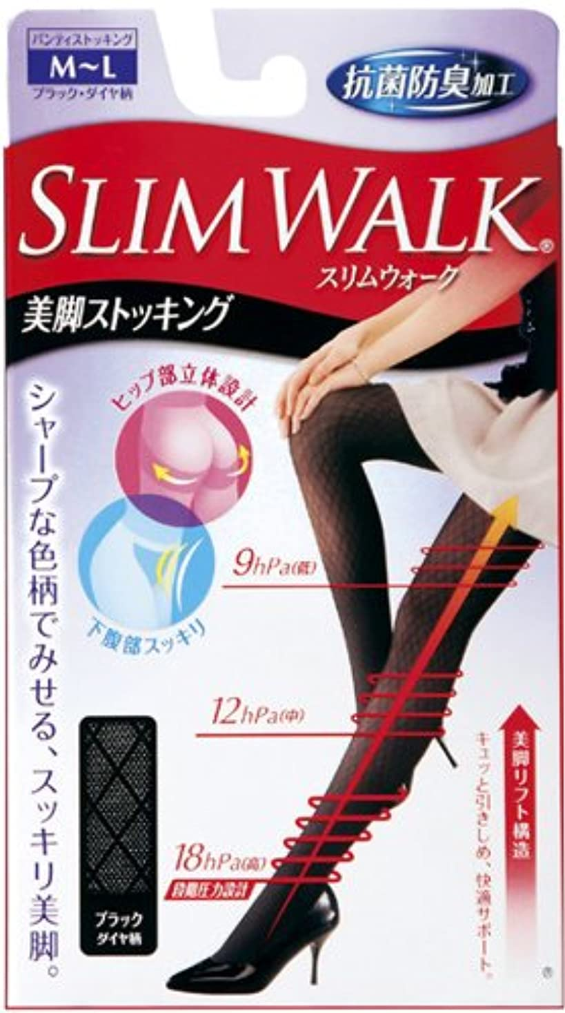 マトロン時々要求するスリムウォーク 美脚ストッキング M-Lサイズ ブラックダイヤ柄(SLIM WALK,pantyhose, ML)