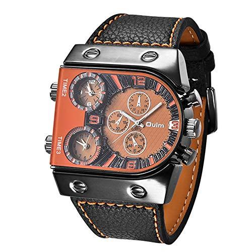 YIBOKANG Personalidad Creativa De Los Hombres Deportes Tres Movimientos Multi-Tiempo Impermeable Reloj De Cuarzo Moda Ocio Relojes De Regalo Multifuncionales (Color : Orange)