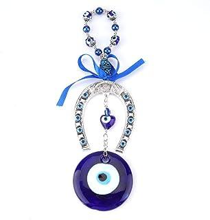 Perle blu malocchio perline ornamento amuleto delicato ciondolo in vetro blu casa protezione fortunata appeso a parete Dec...