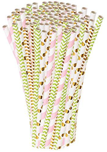 PEARL Trinkhalm Cocktail: 100 Papier-Trinkhalme, Retro-Motive in gold, grün, rosa, 197 x 6 mm (Gestreife Papier-Trinkhalme)