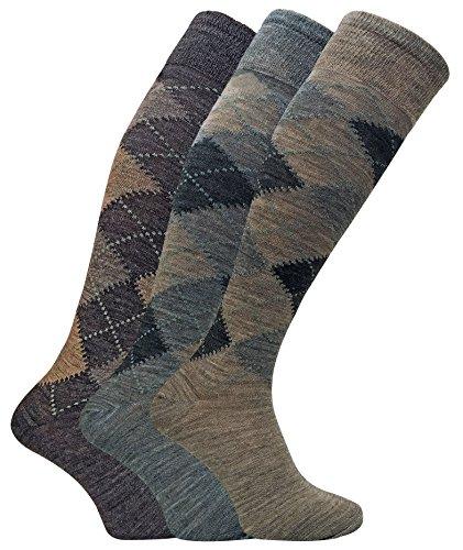 3 Pack Mens Warm Extra Long Knee High Argyle Lambs Wool Socks in Brown or Grey (7-12 US, ELLW Brown)