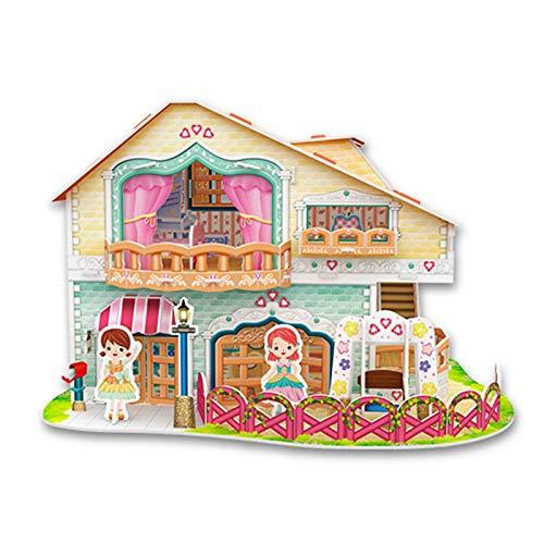 LOVEYue Mini Casa De Muñecas para Padres E Hijos Ensamblar Muebles De Casa De Papel 3D Rompecabezas De Juguete, Juego Casa De Muñecas Segundo