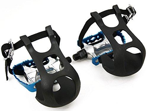 Singlespeed Rennradfahrrad Pedale aus Blau-Eloxiertem Aluminium mit Kunststoffhaken und Nylonriemen Fixy Fixedgear Straps Toe-Clips