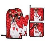 Set 4 guanti da forno e presine,Jack Russell cane che attacca fuori la lingua mentre si trov,Guanti da cucina resistenti al calore per cucinare,cuocere al forno,grigliare,barbecue