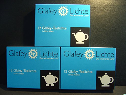 Glafey Teelichter Nr. 28, 12er Pack, Brenndauer 8 Stunden, Alu Hülle, Gastronomie, Wachs, Teelichte