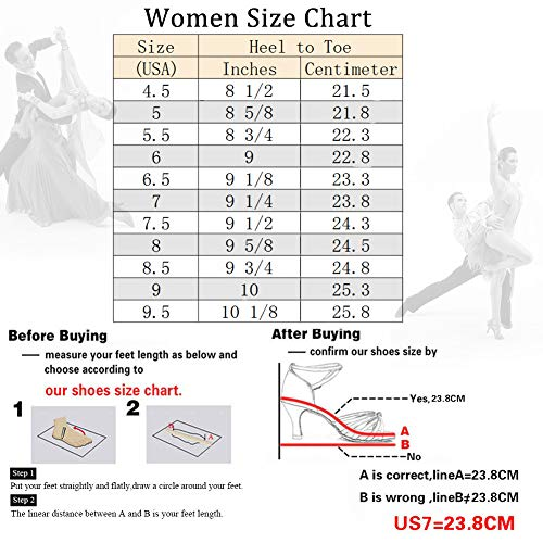 DKZSYIM Women's Gold Fashion Ballroom Party Glitter Latin Dance Shoes Model 511-5,7 B(M) US