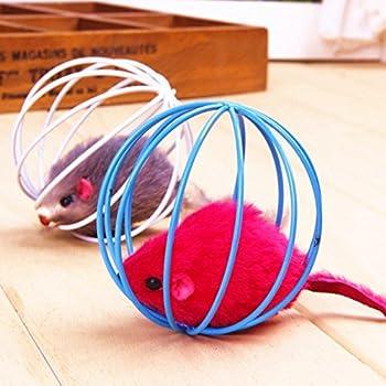 Jouets pour Pet Chat - Rat Drôle dans une Cage Souris Ball Jouet Polaire Drôle