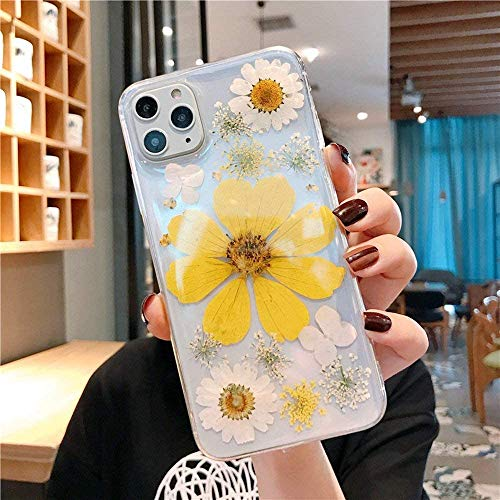iPhone 12/12 Pro Real Flower Case, Chrysanthemum Soft Silicone Cover with Handmade Pressed Dried Flowers, Transparent Ultra-Thin Ultra-Light for iPhone (6.1)' 2020(Yellow)