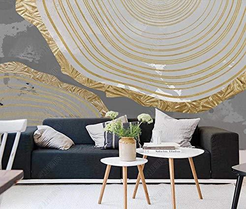 Fotomural 3D Anillos Anuales De Oro Abstractos Tv Fondo Papel Pintado Pintura De Pared