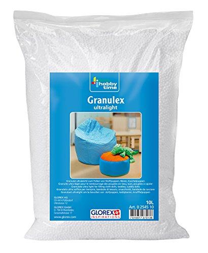 GLOREX 0 2545 10 - Granulex ultralight, 10 Liter, sehr leichter, geschäumter Füllstoff aus Mini Styroporkügelchen, zum Füllen von Kissen, Plüschtieren und Sitzsäcken, waschbar