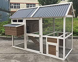 XXL Superior Farmhouse Chicken Coop with PVC Roof 240x172x168cm Chook Cage