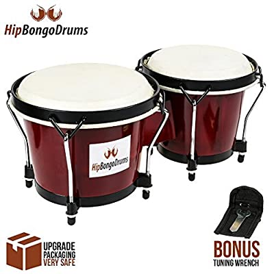 Bongo Drum Set for Adults Kids Beginners Professionals, Upgrade Packaging, Set of 6 and 7 inch Tunable Percussion Instruments, Natural Animal Hides Hickory Shells Wood Metal with Tuning Wrench