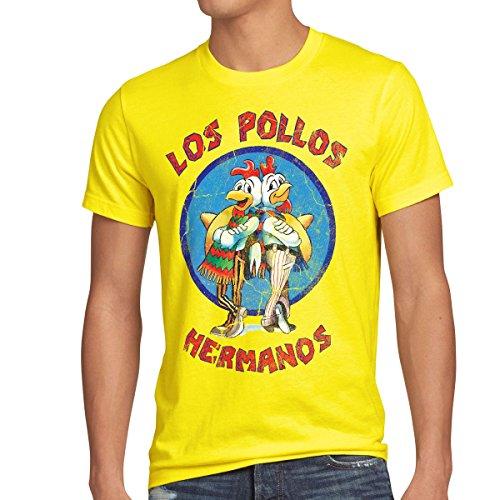 style3 Los Pollos T-Shirt Herren, Größe:XXL, Farbe:Gelb