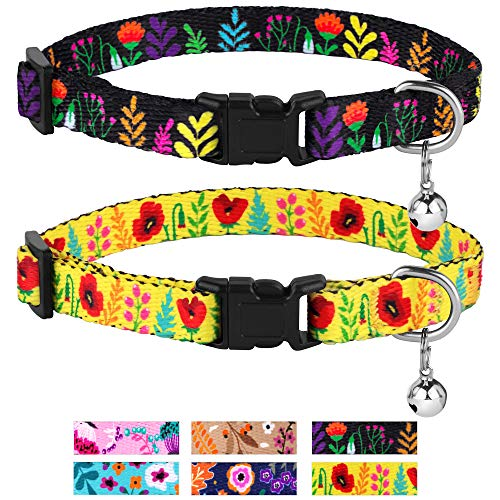 CollarDirect Cat Collar with Bell Floral Pattern 2 Pack Set Flower Adjustable Safety Breakaway Collars for Cats Kitten (Black + Yellow)
