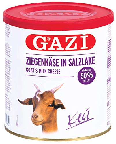 Gazi Ziegenkäse in Salzlake - 2x 400gramm Metalldose - Ziege Ziegen Käse Keci peyniri 50% Fett i.Tr. aus 100% Ziegenmilch, mild, mikrobielles Lab, vegetarisch, glutenfrei, zu Börek, zu Salat