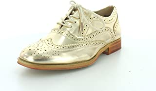 Wanted Shoes Womens Babe Closed Toe Oxfords, Gold, Size 7.5