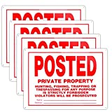 Posted No Trespassing Signs Private Property Mate No Hunting Sign 10x14 Inch Rust Free Aluminum,UV Ink Printing,Indoor or Outdoor Use(4 Pack)