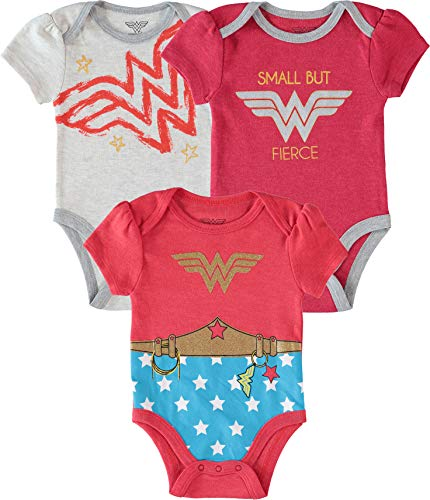 Wonder Woman Baby Girls' Infant Creeper Onesie Bodysuit 3 Piece Gift Set Pnk/Red/White 6-9 Months