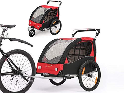 SEPNINE Remolques De Bebé Remolque Infantil 2 En 1 para Bicicleta Carrito con Freno De Mano Y Compartimento De Almacenamiento Adecuado para Correr, Viajes De Bicicleta Rojo