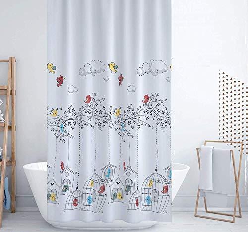 Zethome Cortina de Baño 120 x 200 cm Elegante Original Antimoho Impermeable Lavable Antibacteriana Poliester Tela con Anillas de Cortina Ducha Estiloso Bano Moderno (Sparrows)
