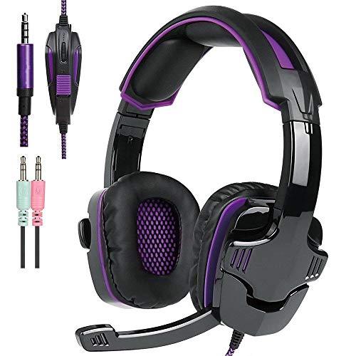 7.1 Surround Sound Gaming Headset 3,5 mm Klinkenstecker, geeignet für PC, Laptop, Videospiel mit flexiblem Mikrofon Lautstärkeregler violett