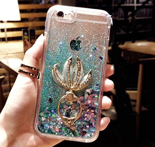 iPhone 6/6S Plus Case,iPhone 6/6S Plus Liquid Mermaid Kickstand Case,Goodaa Luxury Bling Elegant Mermaid Fish Tail Kickstand Shiny Liquid Glitter Quicksand Case for iPhone 6/6S Plus(Green)