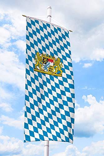 Deitert Bundesland-Flagge Bayern – 150x400 cm Bayern-Flagge mit Löwen-Wappen (Raute), Bannerfahne aus reißfestem Polyester, Bayern-Fahne mit Doppelsicherheitsnaht gesäumt